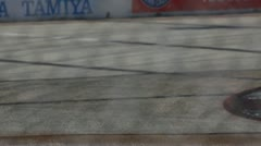 Slo mo Formula Racing Long Beach 2012 Telemundo car cornering - stock footage