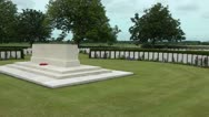 Stock Video Footage of Remembrance stone of CWGC Bedford House Cemetery in Ypres salient ww1 graves