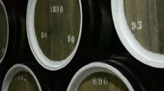 Wine cellar with barrels Stock Footage