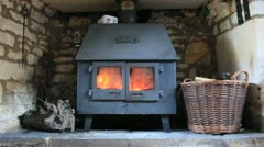 Cottage Style Fire Stove Stock Footage