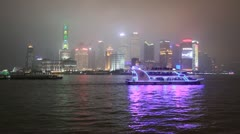 Pou Dong, Shanghai on a foggy night with boat traveling Stock Footage