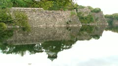 Osaka castle water reflextion Stock Footage