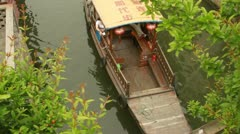 Top View People riding Traditional Old Chinese Style Boat in Zhujiajiao, China Stock Footage
