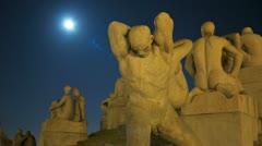 Sculpture Park Vigeland Oslo night timelapse 4K Stock Footage