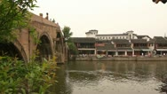 Bridge and old style house by the river in Zhujiajiao, China Stock Footage