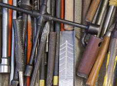 Various hand tools background Stock Photos