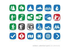 outdoor & adventure sports icon coll#01 - stock photo