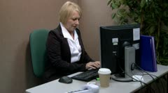 Mature office worker having computer problems Stock Footage