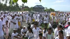 Hindu/Balinese ceremony on the beach in Amed, Bali Stock Footage