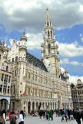 grand place and grote markt in brussels, belgium - stock photo