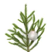 xmas tree ball hanging on a christmas tree branch, isolated - stock photo