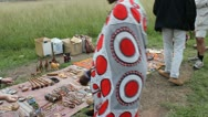 Masai Woman Displays Curious for Tourists  (HD) Stock Footage