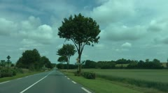 Driving Albert to Bapaume road, passing Butte de Walencourt, The Somme Stock Footage