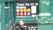 Stock Video Footage of NYC Times Square Subway sign