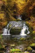 Stock Photo of waterfall flowing through autumn fall forest landscape