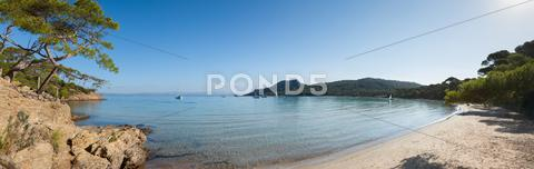 Stock photo of panoramic view of notre dame beach in porquerolles island