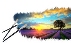 creative concept image of paint brushes painting stunning lavender fields sun - stock illustration