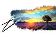Stock Illustration of creative concept image of paint brushes painting stunning lavender fields sun