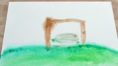 Drawing water color, house Stock Footage