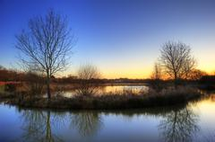 stunning countryside landscape vibrant winter sunrise - stock photo