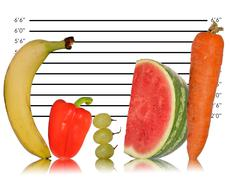 unique healthy eating image of fruit on police id line up - stock illustration