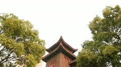 Chinese style church in Shanghai, China Stock Footage