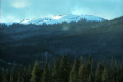 Mountain top With Snow Blowing Stock Footage