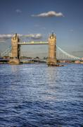 London's tower bridge bathed in sunlight on a bright summer's day Stock Photos