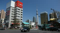 Tokyo Skytree in Japan, The Tallest Tower in the World, Highway in Sumida - stock footage