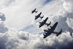 world war two british vintage flight formation - stock photo