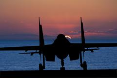Silhouette of military attack aircraft against vibrant sunset sky Stock Photos