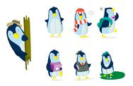 Penguin Set Stock Illustration