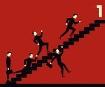 Businessman Stair Competition - stock illustration