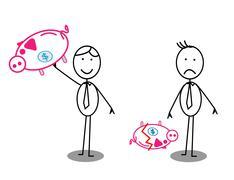 Happy   Unhappy Businessman Piggy bank - stock illustration