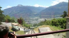 Funicular in Crans-Montana - stock footage