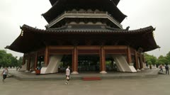 Front of Thunder Feng Tower in Hangzhou, China Stock Footage