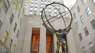 Stock Video Footage of Atlas Statue Rockefeller Plaza