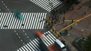Aerial Shot Tokyo Crowd Crossing Commuters Sidewalk People Walk Street Timelapse Stock Footage