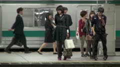 Shinjuku Station Platform Stock Footage