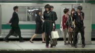 Stock Video Footage of Shinjuku Station Platform