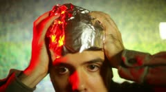 Crazy guy tin foil hat insane Stock Footage