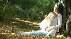 Beautiful Family In The Park Stock Footage