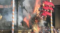 Balinese Hindu royal cremation ceremony (Ngaben) in Ubud, Bali July 28th 2012 - stock footage