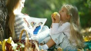 Children Resting In The Autumn Park Stock Footage