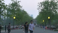 People walking in park, Nanjing, China Stock Footage