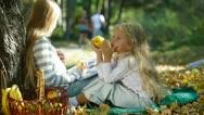 Children In The Autumn Park Stock Footage