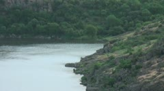 Panorama from the mountains to the beautiful places of the river, camping fee be Stock Footage