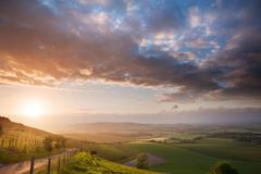 Beautiful english countryside landscape over rolling hills Stock Photos