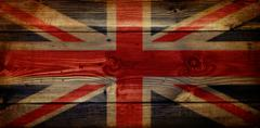 gb union jack flag on grunge wooden background - stock photo