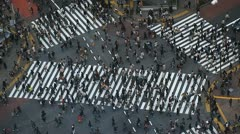 Above Shot Real Time People Walking Crosswalk Crowd Crossing Tokyo Commuters Day - stock footage
